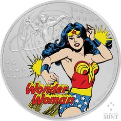 Wonder Woman 1 Unze Feinsilber Comic Book Heroines, Coin Store, One Coin, Wonder Woman Logo, 60th Anniversary, Effigy, Sideshow Collectibles, Wonder Women, Vintage Comics