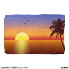 Sunset kitchen towel