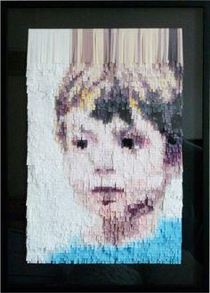 L'enfant de papier by Nathalie Boutté : portrait created using strips of paper #paper_art