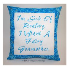Funny Cross Stitch Pillow Blue Pillow Fairy by NeedleNosey on Etsy, $25.00