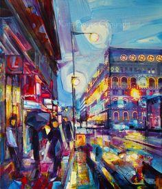 Fantastic painting of Portland Street, Manchester. Manchester Street, Manchester Uk, Portland Street, Best Hotel Deals, Art Challenge, Mixed Media Canvas, Abstract Landscape, Salford, Street Art