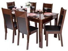 Conjunto de Mesa com 6 Cadeiras Estofaodas Madesa - Damasco com as melhores condições você encontra no Magazine Cheles. Confira!