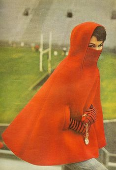 Red cape    From Mademoiselle, August 1961 vintage fashion designer unique style poncho red wool 60s era mod