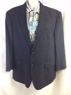 Jos A Bank Men Sport Coat 46R Navy Blue 100% Wool Lined Blazer Vented 2 Buttons #JosABank #TwoButton