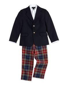 Wool+Blazer,+Pique+Dress+Shirt+&+Plaid+Classic+Pants+by+Oscar+de+la+Renta+at+Neiman+Marcus.