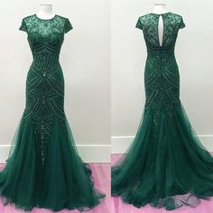 Emerald Green Tulle Fully Beaded Mermaid Prom Dresses 2017 Pageant Evening Gowns