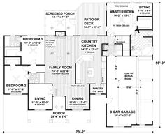 Traditional Style House Plan - 3 Beds 3 Baths 2097 Sq/Ft Plan #56-164 - Eplans.com
