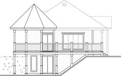 Rear Elevation of Cottage   Country   Victorian   House Plan 65566
