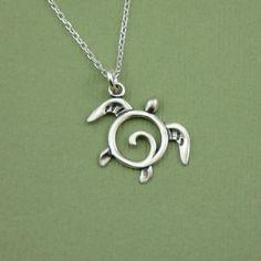 Silver Sea Turtle Necklace , sterling silver turtle, turtle pendant. $27.00, via Etsy.