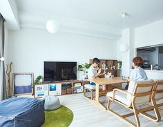 Muji Storage, Muji Style, Living Room Kitchen, Open Concept, Minimalism, Desk, Shelves, Architecture, Interior