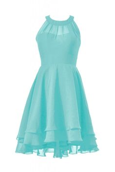 DaisyFormals High-Low Prom Dress Short Halter Chiffon Bridesmaid Dress(CST2225)- Tiffany Blue