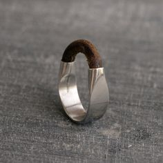 Brown Leather Silver ring