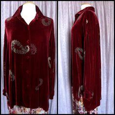 CATHERINE BACON shirt / Catherine Bacon jacket / velvet shirt / vintage velvet jacket / embossed velvet top / OSFM / burgundy velvet by OGOvintage on Etsy