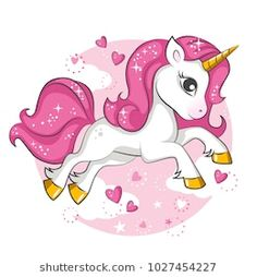 Illustration about Cute little pink magical unicorn. Vector design on white background. Print for t-shirt. Romantic hand drawing illustration for children. Illustration of horn, magic, background - 110861014 Unicorn Painting, Unicorn Drawing, Unicorn Art, Magical Unicorn, Funny Unicorn, Unicorn Images, Unicorn Pictures, Unicornios Wallpaper, Unicorn Backgrounds