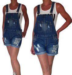 NEU Damen Latzshorts kurze Latzhose Relaxed Fit Shorts Jeans Print 36 38 40