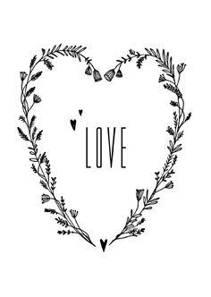 Carte postale LOVE – Illustration: Marieke ten Berge via Petitelouise. Doodle Drawing, Love Illustration, Calligraphy Letters, Brush Lettering, Chalk Art, Wallpaper S, How To Draw Hands, Creations, Doodles