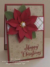 Festive Flower Punch Stampin' Up! Homemade Christmas Cards, Christmas Cards To Make, Xmas Cards, Christmas Greetings, Homemade Cards, Handmade Christmas, Holiday Cards, Christmas Crafts, Cards Diy