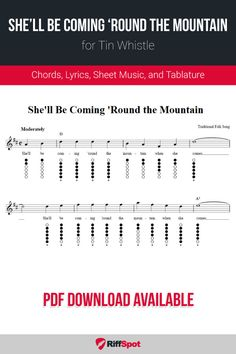 Free tin whistle sheet music for She'll Be Coming 'Round the Mountain with chord symbols, lyrics, and tablature. Harmonica Lessons, Music Lessons, Free Sheet Music, Sheet Music Notes, Recorder Fingering Chart, Irish Flute, Traditional Folk Songs, Tin Whistle, Native American Flute