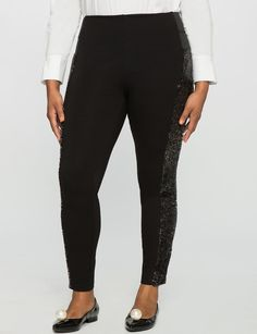 Plus Size Miracle Flawless Sequin Embellished Legging * To view further for this item, visit the image link.