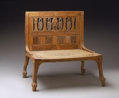 Chair, New Kingdom, Dynasty 18, early co-reign of Thutmose III and Hatshepsut, ca. 1479–1473 B.C.  Egyptian; From the tomb of Hatnofer and Ramose, western Thebes  Boxwood, cypress, ebony, linen cord
