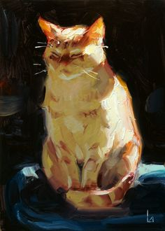 "The figure stands out against the dark background. The lighting is from a single source, which can be highlighted in the high value orange Daily Paintworks - ""Sun Cat"" - Original Fine Art for Sale - © John Larriva Inspiration Art, Art Inspo, Arte Sketchbook, Animal Paintings, Art Oil Paintings, Realistic Paintings, Indian Paintings, Abstract Paintings, Landscape Paintings"