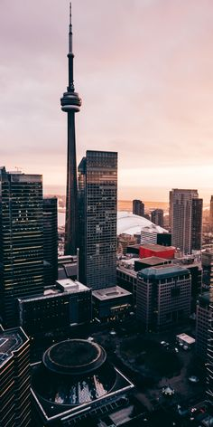 View of Toronto with a beautiful sunset in the background. ===> for the life click the link above 👆 Toronto Cn Tower, Toronto City, Wallpaper Canada, City Wallpaper, Iphone Wallpaper Toronto, Toronto Photography, City Photography, Digital Photography, City Aesthetic