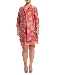 Downtown+Floral-Print+Sheath+Dress+W/+Attachable+Sleeve+&+Natascia+Flower-Print+Coat+by+Marina+Rinaldi+at+Neiman+Marcus.