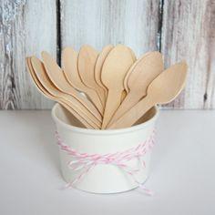 Wood Ice Cream Spoons - Set of 12