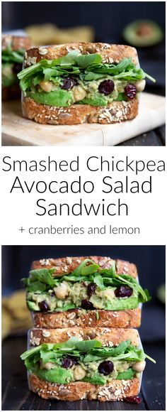 Smashed Chickpea Avocado Salad Sandwich with Cranberries ...