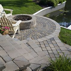 Belgard Cambridge Pavers and Weston Wall used to build the fire pit, steps and patio.