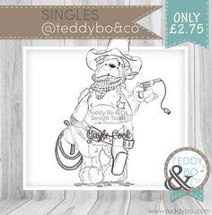 Teddy Bo_229 Bear DIGI STAMP  Cowboy Bear