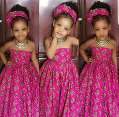 African dress for girls with headwrapgirls by Zedstylezfabrics. Ankara Styles For Kids, African Dresses For Kids, African Children, African Print Dresses, African Print Fashion, African Fashion Dresses, African Attire, African Wear, African Style