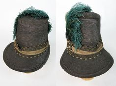 Wonderful circa 1815 Regency Period tall-crown straw bonnet with its original blue and black plumes and silk damask ribbon ornaments. 1800s Fashion, Vintage Fashion, Regency Dress, Regency Era, Vintage Wardrobe, Vintage Outfits, Edwardian Clothing, Period Outfit, Empire Style