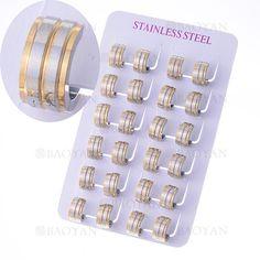 hueggies 13mm rayas plateado en acero dorado inoxidable para mujer -SSEGG1104931