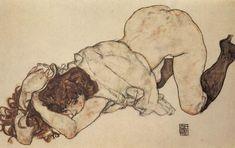 Egon Schiele, Klęcząca dziewczyna opierająca się na obu łokciach, 1917
