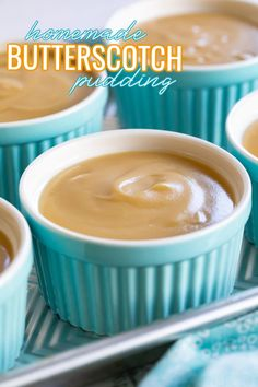 This easy homemade Butterscotch Pudding comes together in minutes! Silky smooth, rich and creamy, this easy pudding recipe will have you saying buh-bye to boxed pudding mix forever! // Mom On Timeout #homeamdepudding #puddingrecipe #butterscotchpudding #nobakedessert #pudding Holiday Desserts, No Bake Desserts, Just Desserts, Delicious Desserts, Dessert Recipes, Yummy Food, Custard Pudding, Pudding Pies, Easy Pudding Recipes
