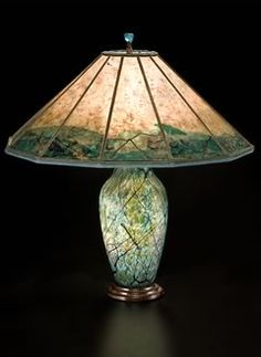 Lindsay Art Glass Table Lamp and butterfly Mica Lamp shade | Sue Johnson  Custom Lamps u0026 Shades
