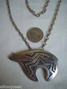 Navajo TOMMY SINGER Sterling Silver Overlay BEAR FETISH Pendant NECKLACE