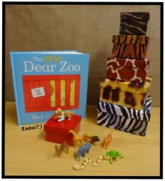 """Dear Zoo and props from Rachel ("""",) Dear Zoo Activities, Nursery Activities, Language Activities, Activities For Kids, Activity Ideas, Nursery Stories, Book Area, Story Sack, Book Baskets"""