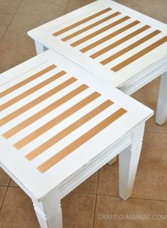 white end tables painted with metallic gold stripes - super cute!