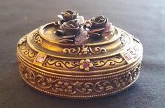 Vintage Trinket Box Antique Brass Tone by RoseMackenzieEstate