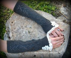 Lacey Arm Warmers  womens Fingerless Gloves in por GraceandLaceCo