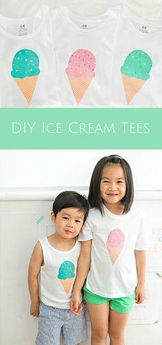 Make these cute ice cream tees for kids in just 5 minutes! Free template included with 8 different colors.