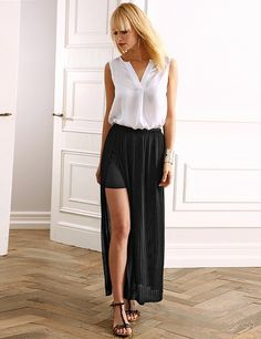 Plisséejupe mit Seitenschlitz Sexy, Harem Pants, Style, Fashion, Pleated Skirts, Skirts, Side Lunges, Swag, Moda