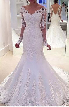 Wedding Dress Lace Custom Made Absorbing Lace Wedding Dress, Mermaid Wedding Dress, Custom Wedding Dress, Wedding Dress With Sleeves - Discount Easy Mermaid Wedding Dress Long Sleeve Off Shoulder Mermaid Lace Custom Wedding Dresses Online, Western Wedding Dresses, Custom Wedding Dress, Sexy Wedding Dresses, Bridal Dresses, Wedding Gowns, Lace Wedding, Chic Wedding, Bridesmaid Dresses, Modest Wedding