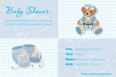 Print your own invitation. Baby Shower Invite - Boy Bootees Design