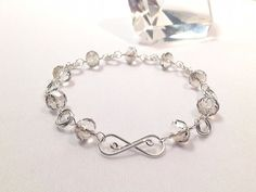 Silver Mobius Wire Wrapped Chainmaille Shadow Gray Crystal Bracelet
