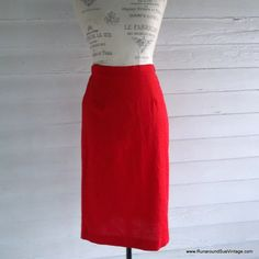 Vintage CHERRY Red Pencil Skirt by runaroundsuevintage on Etsy, $14.00