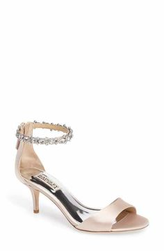 4947eb9bc187b9 Badgley Mischka Geranium Embellished Sandal - light pink satin and kitten  heel Wedding Shoes Heels