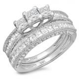 Share 2.30 Carat (ctw) 14k White Gold Princess & Round Cut Diamond Ladies Engagement Bridal 3 Stone Ring With Matching Band Set 2 1/3 CT - Dazzling Rock #https://www.pinterest.com/dazzlingrock/